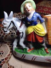 ceramic donkey cart vintage Japan Planter with girl unusual detail MINT