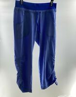 Athleta Woman's blue Jogger pants crop rouched travel hiking size 4, EUC.