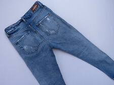*F-057 MNG TRASHED DISTRESSED CROPPED BLUE DENIM JEANS SIZE 32 AS NEW