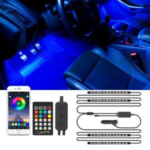 4x 12V RGB LED Car Interior Light Strip Under Dash Neon Light Footwell Glow Lamp