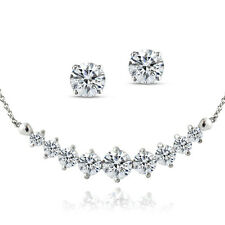 925 Silver 4ct Created White Sapphire Frontal Journey Necklace & Earrings Set