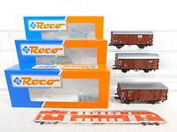 CE922-0,5# 3x Roco H0/DC gedeckter Güterwagen DB: 46001 + 46014 + 46016, OVP