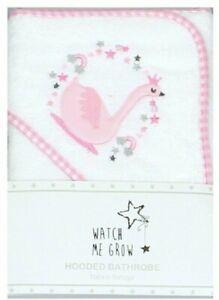 New Baby Girl Cute White Pink Robe Hooded Towel Swan Design Watch Me Grow