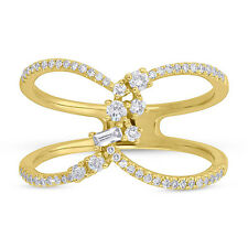 Statement Right Hand Ring 0.33 Ct 14K Yellow Gold Diamond Crossover X Cocktail