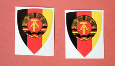 2 x Schild DDR Aufkleber bunt ca. 5 x 4 cm