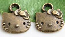 Free Ship 60Pcs Bronze Plated lovely cat Charms 13x11mm