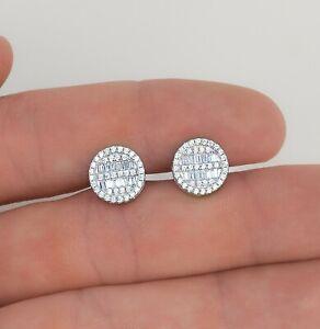 Men's Solid Sterling Silver Iced Diamond Hip Hop Stud Earrings Round Baguette