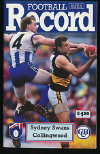 1992 AFL Football Record Sydney Swans vs Collingwood Magpies July 17 18 19