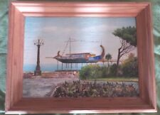 Vintage Oil Painting of Asian Pier Boat on Stilts 2000
