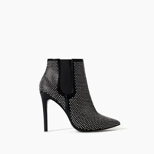 ZARA Black  High Heel Ankle Boots with Studs  SIZE: 37, UK 4     5125/201