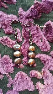 Handmade freshwater pearl bead pair of earrings (various colours)