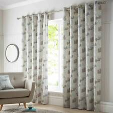 """Natural & Blue Teal Watercolour Floral 66"""" Wide x 90"""" Drop Eyelet Lined Curtains"""
