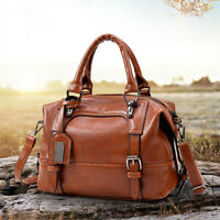 Leather Shoulder Bag Satchel Travel Bag Handbag Large Capacity Crossbody   ~