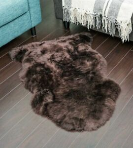 Genuine Real Australian Sheepskin Rug Brown Single Pelt Sheepskin Rug Throw