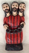 Hispanic, Mexican Holy Trinity WOODEN HAND-CARVED SCULPTURE - Signed by Artist