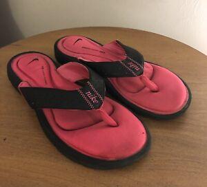 Nike Comfort Footbed Thong Flip Flops Size 9 Pink Sandal Black - GUC