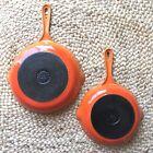 Le Creuset #20 & #23 Vintage Red Orange Enamel Cast Iron Skillets Pans Set