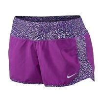 New NIKE Panel Crew Printed Women's Running Short 723928-513 Purple Size XL