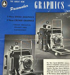 Vintage Graflex Graphics Camera Speed Crown Pacemaker Blue Paper Ad Damaged
