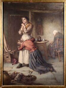 WILLIAM HARRIS WEATHERHEAD (1843-1903) HUGE SIGNED WATERCOLOUR - WOMEN INTERIOR