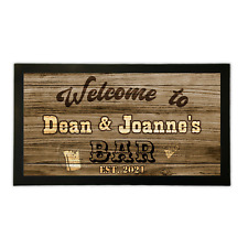 More details for personalised bar runner mat western style home pub shed garage man cave barware
