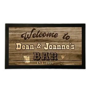 Personalised Bar Runner Mat Western Style Home Pub Shed Garage Man Cave Barware
