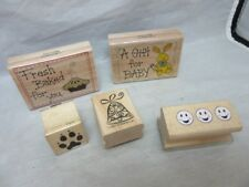 5x rubber stamps. Gift For Baby. Fresh Baked, paw print, bell