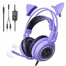 SOMIC G951S Purple Gaming Headset with Microphone, Girls Women Removable Cat Ear