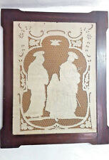 1800 LINO INTELATO SU TAVOLA - ENTRO CORNICE COEVA - ( 78x62 cm ) -