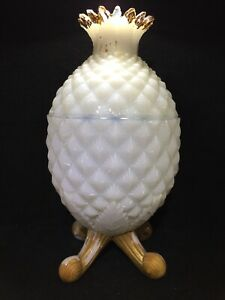 Vallerysthal Portieux White Opaline Pineapple Covered Dish - Rare - Fast Ship