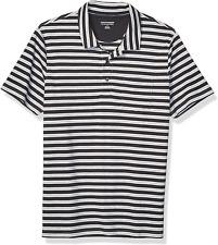 Men 's Slim-fit Jersey Polo 100% Cotton T Shirt Black Stripe Button closure