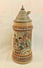 Antique Merkelbach & Wick Beer Stein Pewter Lid 1879-1921  1/2 L Etched Tavern