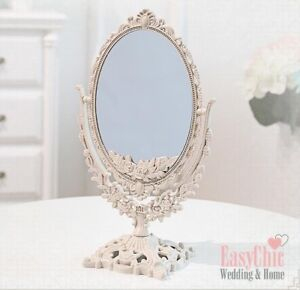 Double Sided Magnified Ornate Mirror Freestanding Dressing Table Vanity Mirror