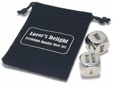 Fun Foreplay Dice with Velvet Keepsake Bag - Silver Nickel with Mirror Finish