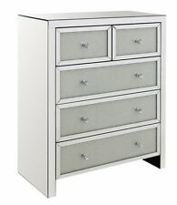 Diamond Mirrored 2 over 3 chest Of Drawers Bedroom Cabinet Floating Crystal  New