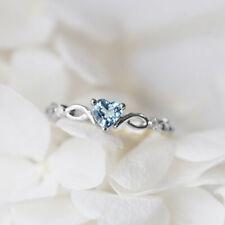 Charm Heart Cut Aquamarine 925 Silver Rings Women Elegant Gifts Simple Size 5-10