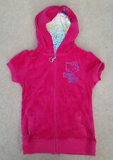 MARKS & SPENCER Pink Velour Hello Kitty Hoodie Sleeveless Cotton Blend 9-10 Yrs