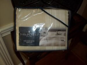 New Fieldcrest Yarn Dyed Tan/White King Duvet Cover Set 3pc