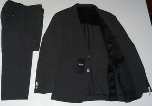 NEU HUGO BOSS Helford Gander3 Gr.48 M ANZUG BLACK Grau Slim Fit Johnstons 38R