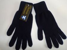 Scottish 100% 4 ply cashmere knitted warm soft finger gloves Mens Navy Blue O.S