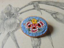 Jolie broche en micro-mosaïque Italienne ovale - fleurs bijoux vintage
