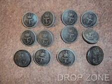 British Royal Navy Queen's Crown Small Black Plastic Bakelite Buttons x 12