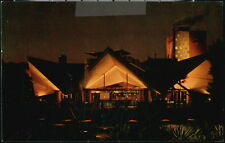 Tampa Fl Busch Gardens Hospitality House Vintage Night View Old Florida Postcard