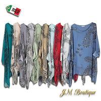 Italian Top Blouse Tunic Lagenlook Silk Plus Size 16 18 20 22 24 26 28 30