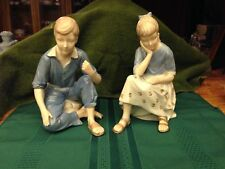 "Blue and White Boy (7 3/4"") & Girl (8"") Figurine Four Digit Back Stamp on Bottom"