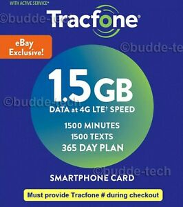 Tracfone Smartphone 365 days plan + 1500 minutes+texts 1.5GB data (PIN # Refill)