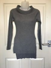 Misguided Grey Soft Stretchy Knitwear Side Slip Jumper Size 8 Nwot