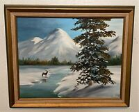 Original Vintage Signed Oil on Canvas Snowy Deer River Landscape Painting - Lera
