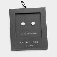 Sea Shell Earrings Tiny Secret Gift Box WHITE GOLD DIPPED Small Stud Classic CZ