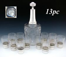 Oversized Antique French Sterling Silver & Intaglio Etched 13pc Liqueur Service